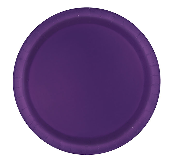 Deep Purple Round Dessert Plates Big 20 Pack