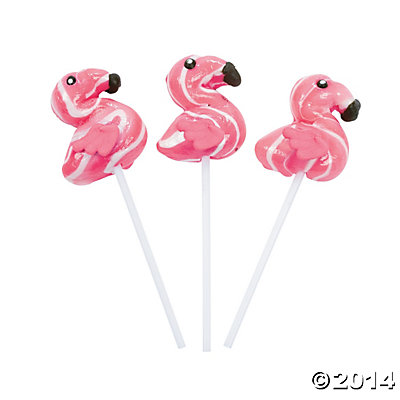 Flamingo Frosted Swirl Lollipops - 12 Pack