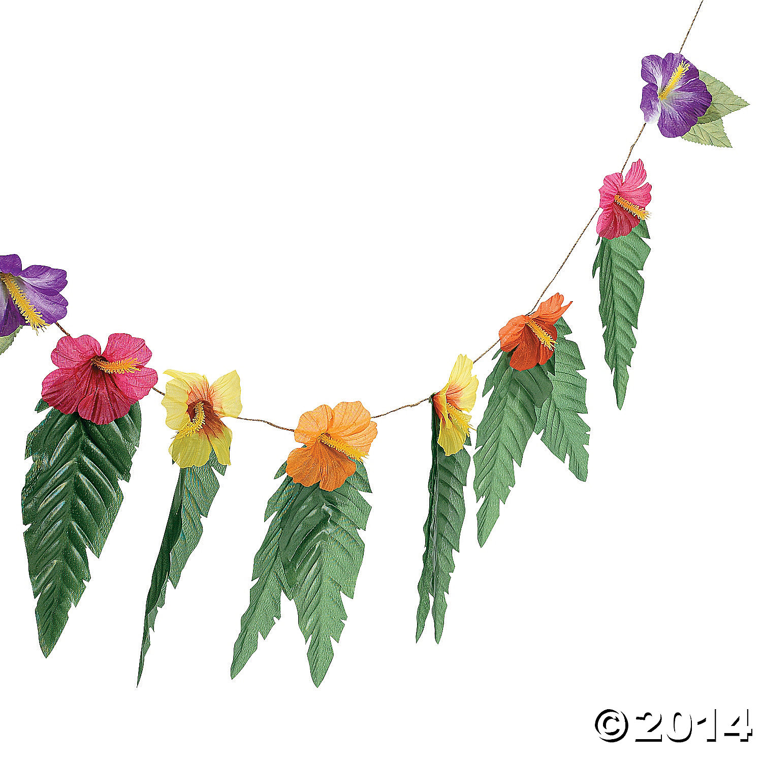 Hibiscus Flower Garland with Leaves 74""