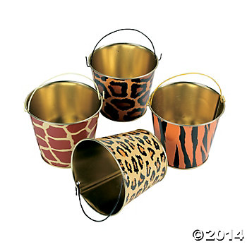 Tinplate Animal Print Pails with Handles 12pk