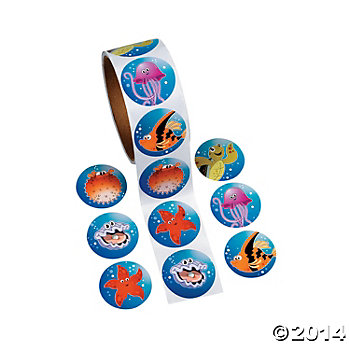 *Tropical Sea Life 100 Pk Sticker Roll