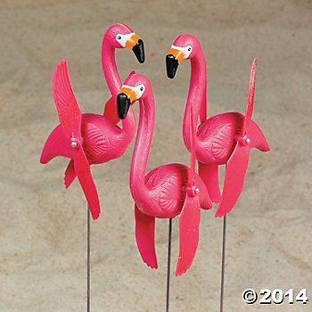 Flamingo Twirling Yard Stakes - 6 Pack