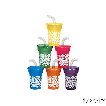 Hibiscus Print Sipper Cups 12 Pk
