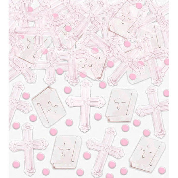 Girl Pink Cross Confetti - 2.5 OZ.