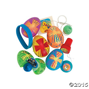 Religious Bright Toy Filled Printed Eggs - 24 Pack