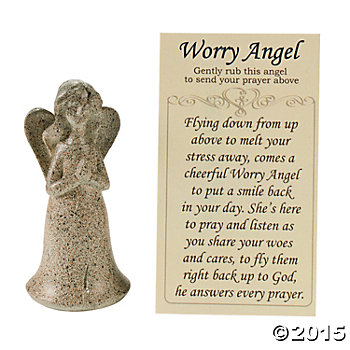 Religious: Worry Angels w/Prayer Cards - 12 Sets