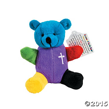 Religious: Velour Rainbow Faith Bears w/Cards - 12 Pk