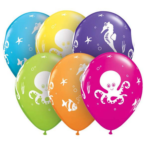 "Fun Sea Creatures Latex Balloons 11"" - 50 Pk"