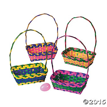 Easter bags boxes totes party supplies canada open a party bamboo multi colour easter baskets 12 pack negle Image collections