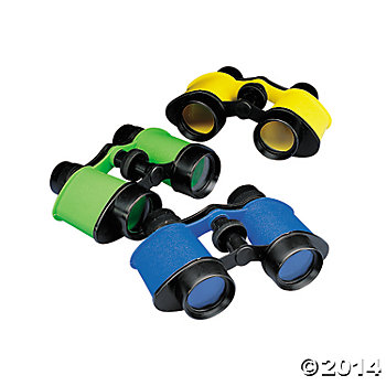 Coloured Binoculars on a Neck Cord -  3 Pk