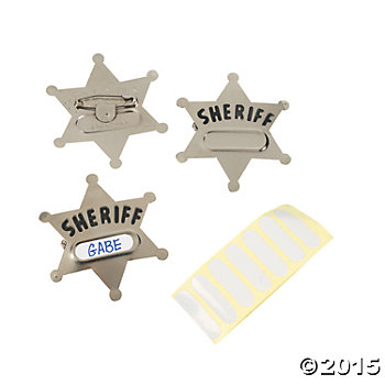 Metal Sheriff Add a Name Clip Badges 12pk