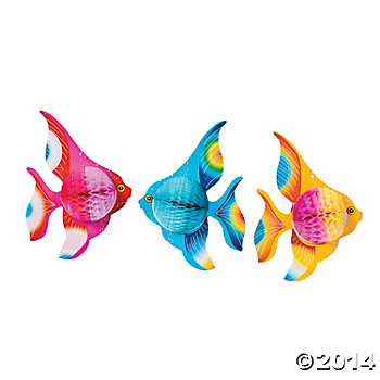 "Tissue 11"" Long Hanging Fish - 6 Pack"