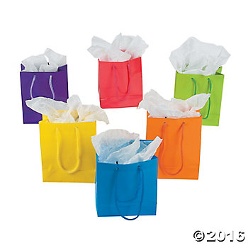 Neon Small Sized Gift Bags - 12 Pk