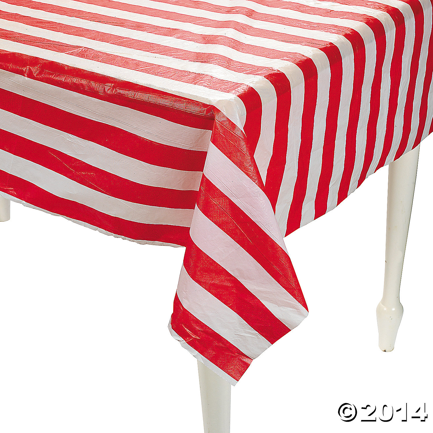Red Amp White Striped Plastic Tablecloth Roll 100 Ft Party