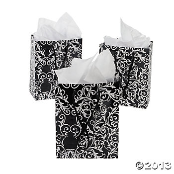 Black & White Small Damask Gift Bags - 12 Pk