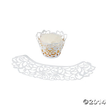 White Laser-Cut Cupcake Wrappers - 24 Pk