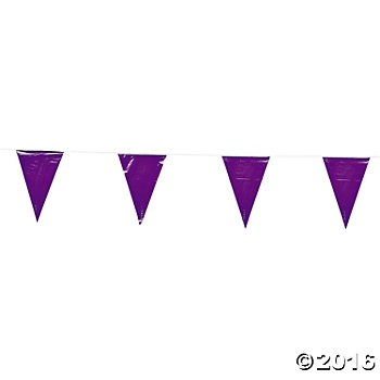 Purple Pennant Banner - 100ft.