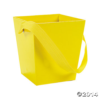 Yellow Buckets with Ribbon Handles 6 Pk