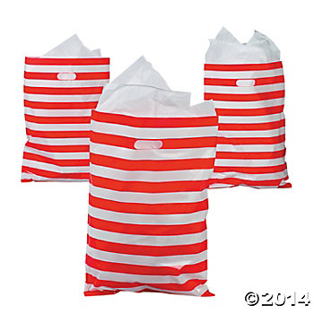 Red & White Giant Striped Plastic Bags - 50 Pk