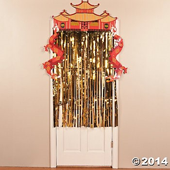 Chinese Foil Dragon Door Curtain