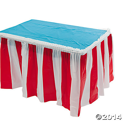 14 Foot Red and White Striped Table Skirt
