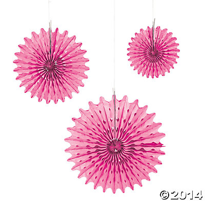Candy Pink Tissue Hanging Fans - 12pk