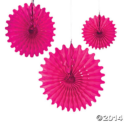 Hot Pink Tissue Hanging Fans - 12pk