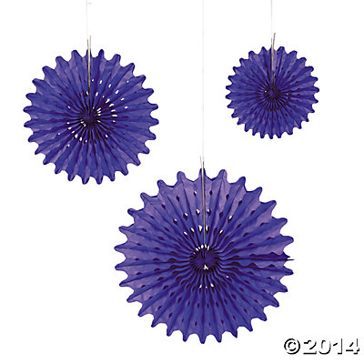 Purple Tissue Hanging Fans - 12pk