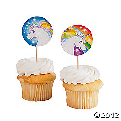 Unicorn Cupcake Large Toppers 24 Pk