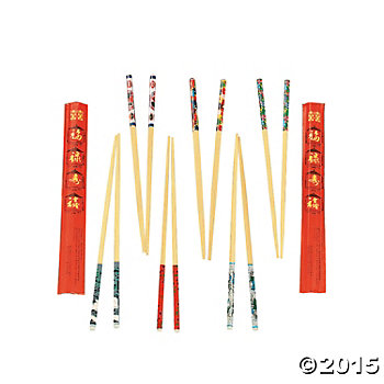 Chinese New Year Wood Decorated Chopsticks - 24 Pairs