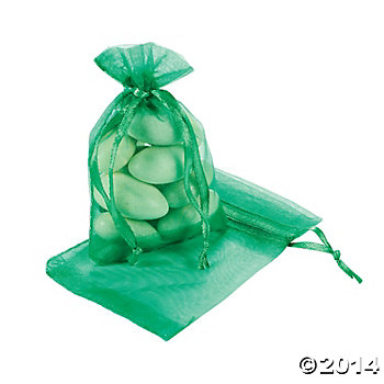 Emerald Green Mini Organza Drawstring Bags - 50 Pk