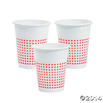 Red Gingham Disposable Cups 50 Pk