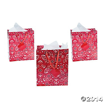 Western Party: Bandana Medium Gift Bags 12 Pack