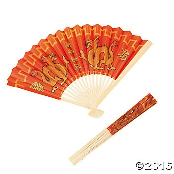 Chinese New Year Dragon Folding Fans - 12pk