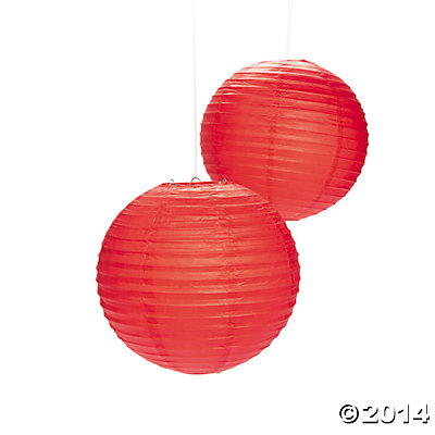 "Red Large 12"" Paper Lanterns - 6 Pk"