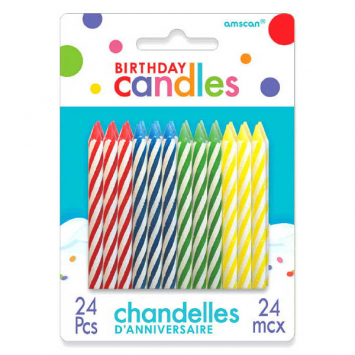 40% OFF: Large Bright Birthday Candles - 24 Pk