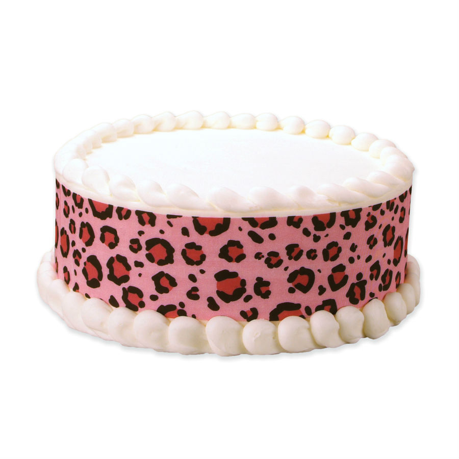 Pink Leopard Edible Icing Cake Wrap