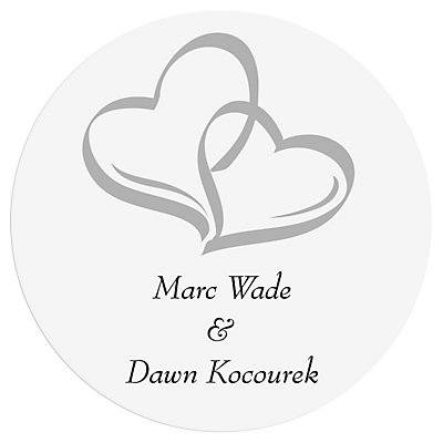 Personalized two hearts wedding favour stickers 48 pk