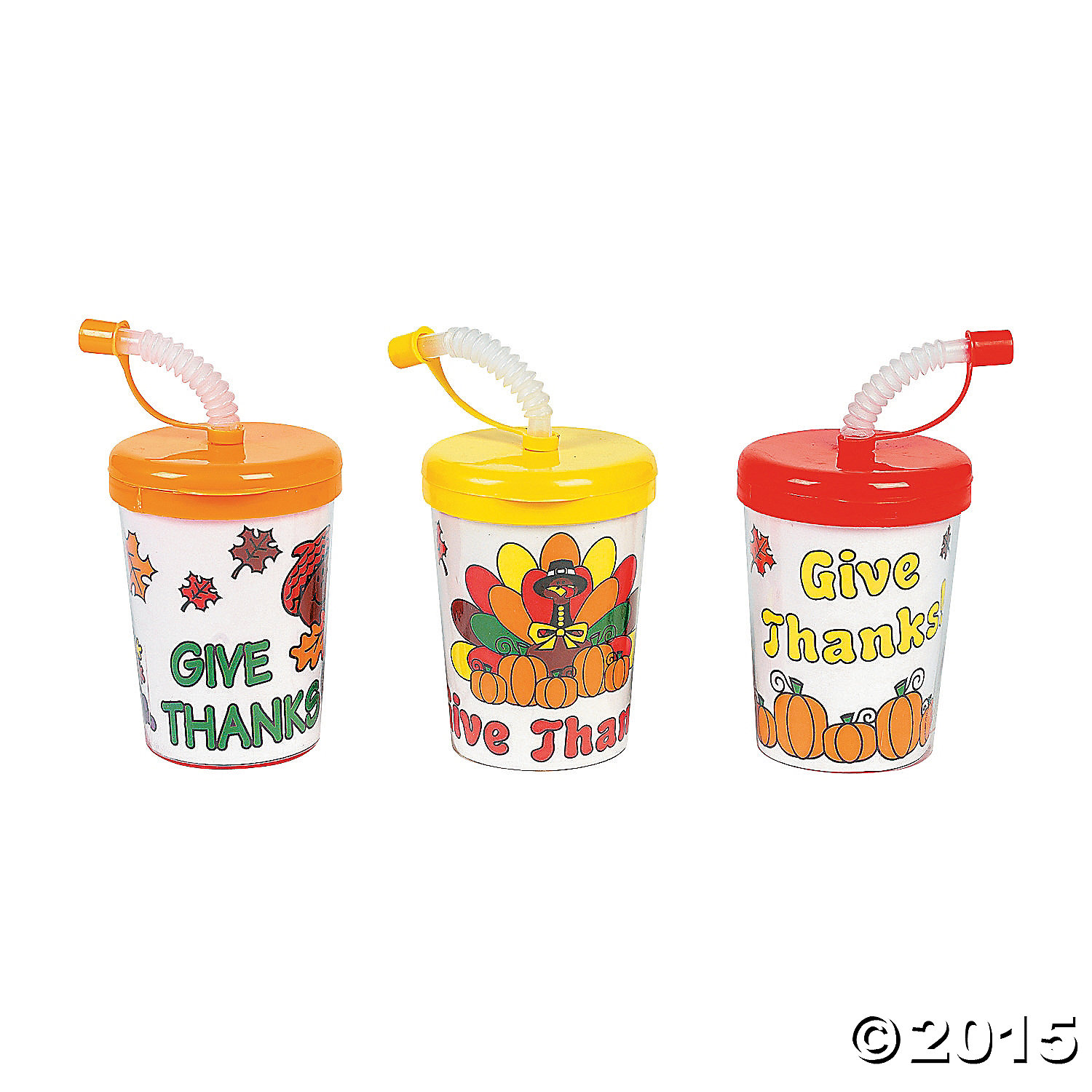 Color Your Own Give Thanks Cups w/Lids & Straws-12pk