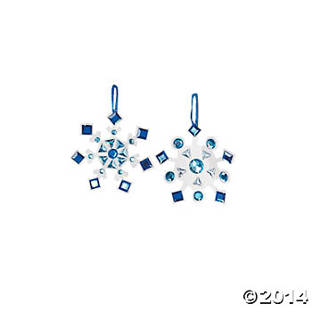 Hanging Rhinestone Snowflake Craft Kits - 12 Pk