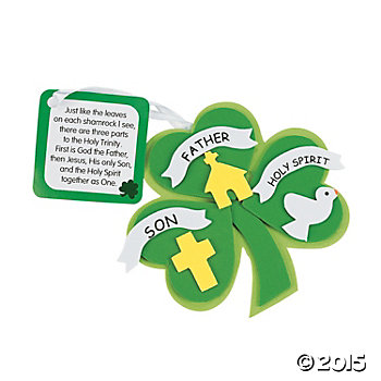 Religious Foam Trinity Shamrock Craft Kits - 12 Pk