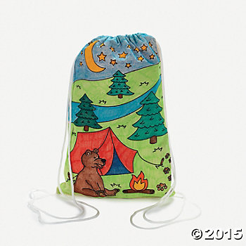Camp Crafts: Colour In Canvas Backpacks - 12 Pk