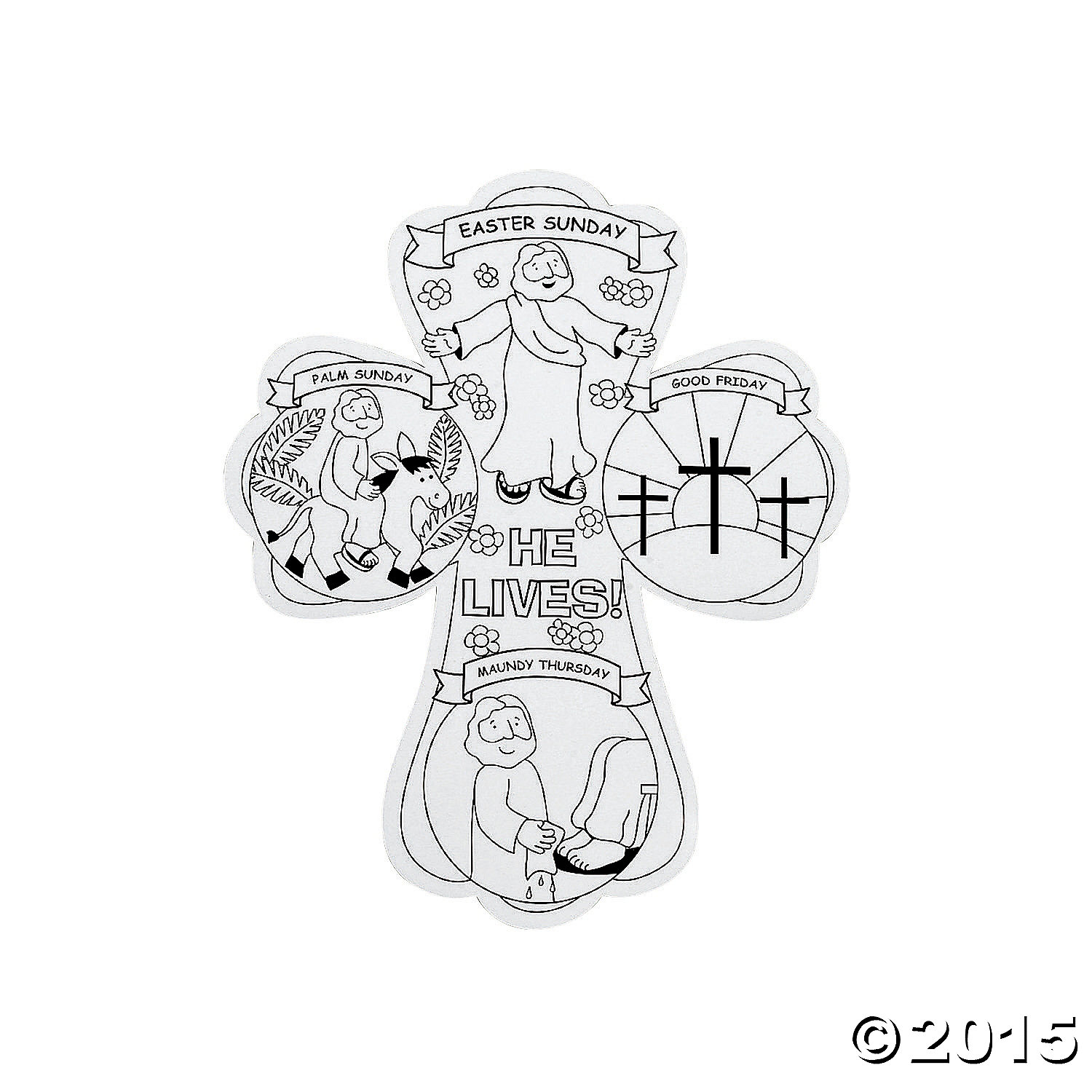 Color Your Own Religious Christmas Ornaments: Religious: Color Your Own Holy Week Crosses 12 Pk Party