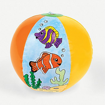 "DIY Coloring Fish 12"" Beach Balls - 12pk"