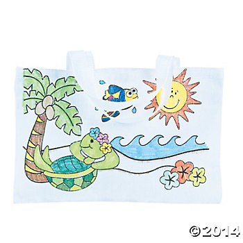 Color Your Own Tropical Tote Bags - 12 Pk