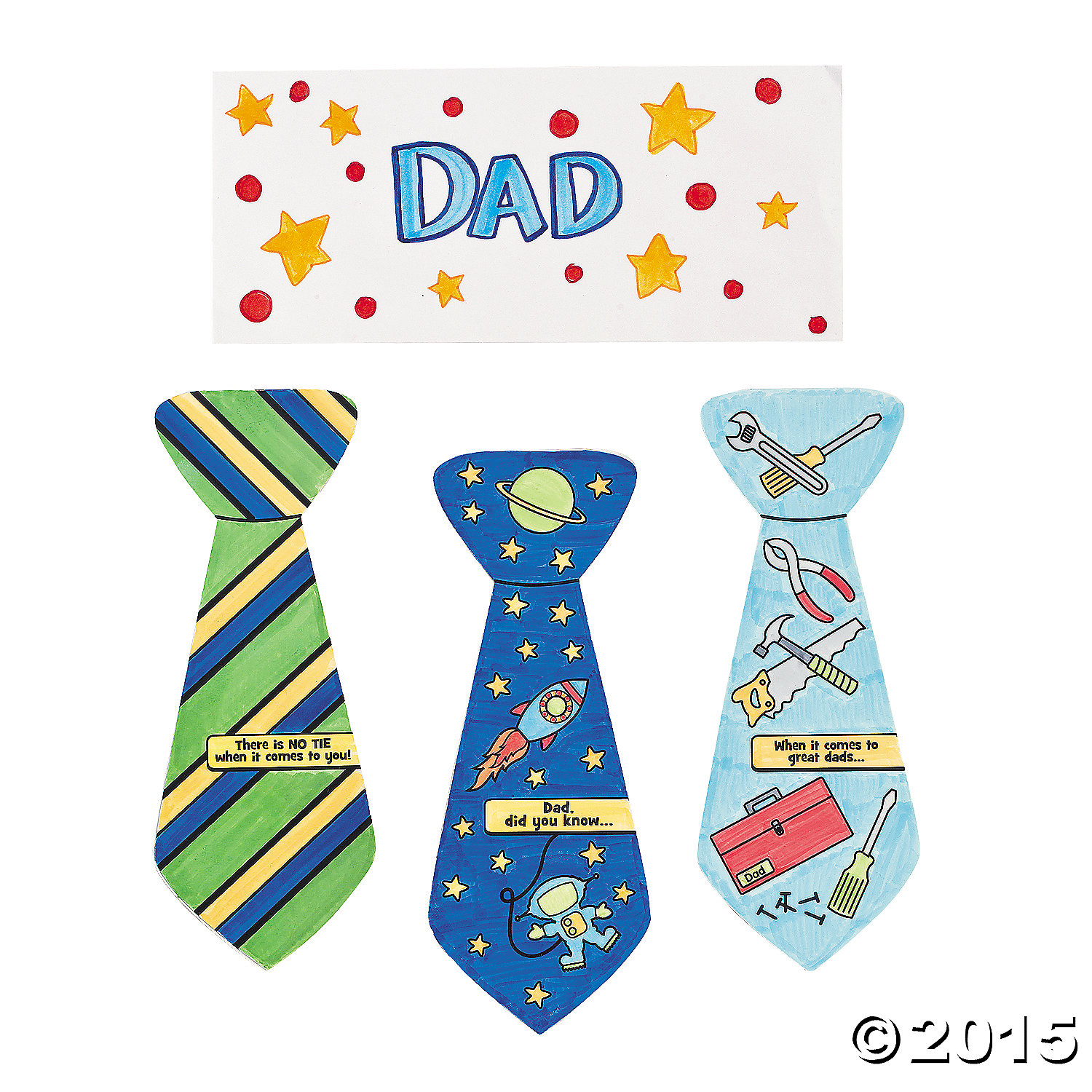 Color Your Own Father's Day Tie-Shaped Cards 12pk