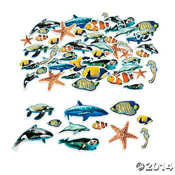 Ocean Realistic Self Adhesive Shapes - 500 Pk