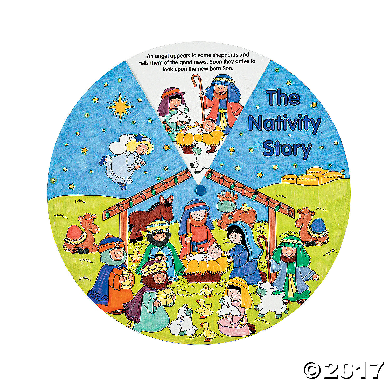 Color Your Own Religious Christmas Ornaments: Religious: Paper Color Your Own Nativity Wheels 12 Pk