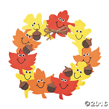 Smile Face Leaves Wreath Craft Kit - 12 pk