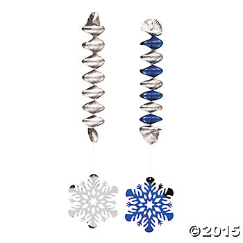 Snowflake Long Hanging Danglers - 12 Pk